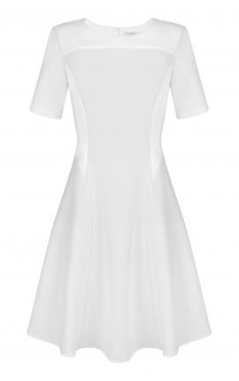 Robe Crème Jacquard/Jersey
