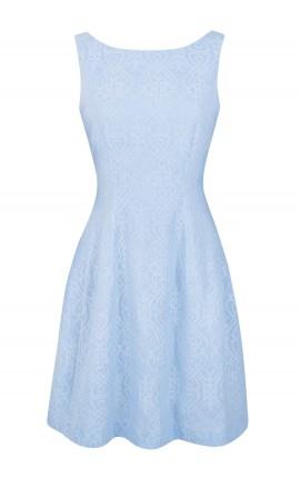 Robe chic dentelle bleue